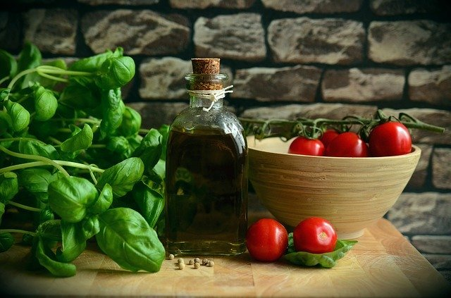 healthy foods, fruits and nuts, olive oil