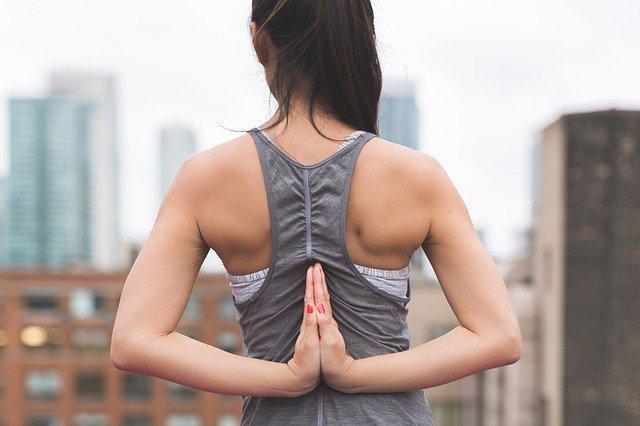 prayer pose, shoulder pain stretching